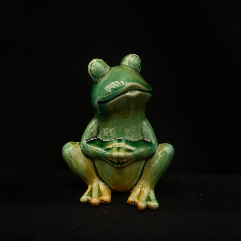PONDering Frog Ceramic Ornament