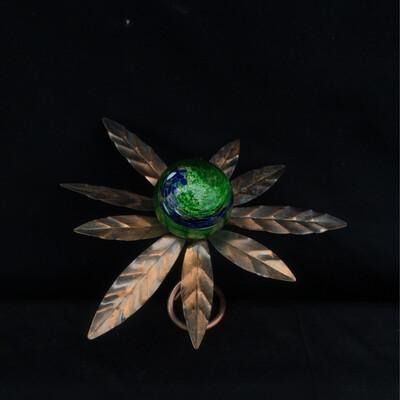 Metal & Glass Flower Garden Stake - Green