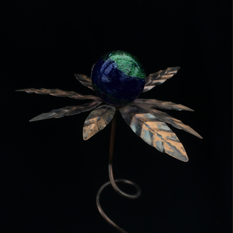 Metal & Glass Flower Garden Stake - Blue