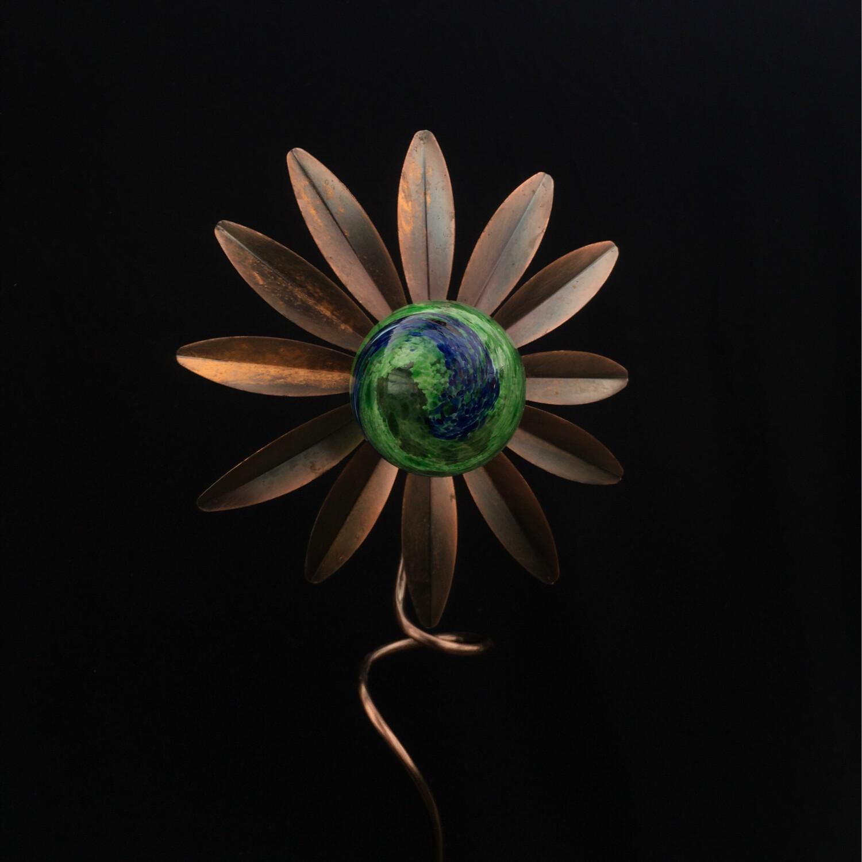 Metal & Glass Daisy Garden Stake