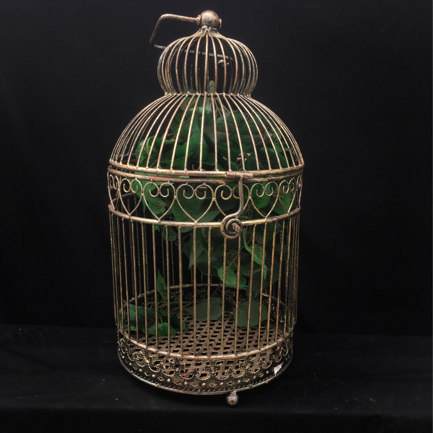 Metal Bird Cage with Faux Vine