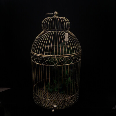 Large Metal Bird Cage With Faux Vine