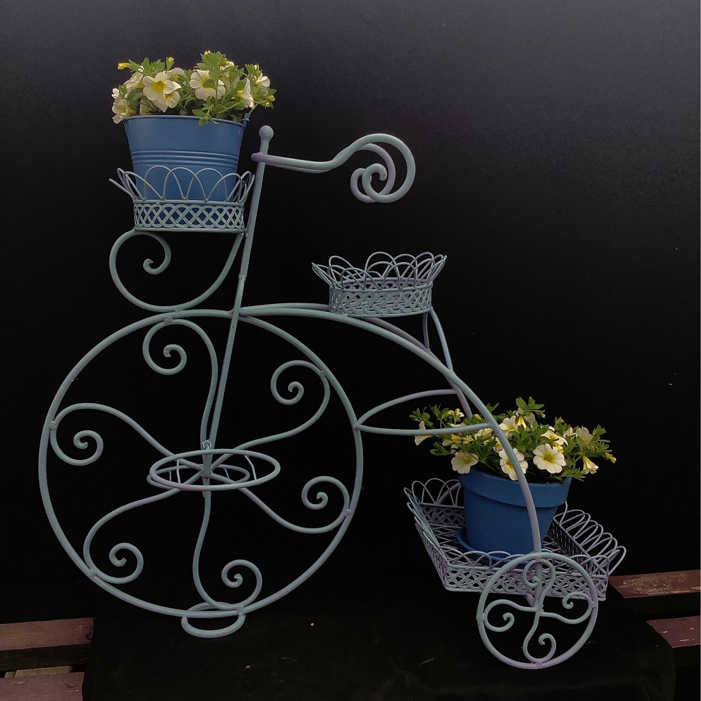 Vintage Light Blue Metal Bike Pot Holder