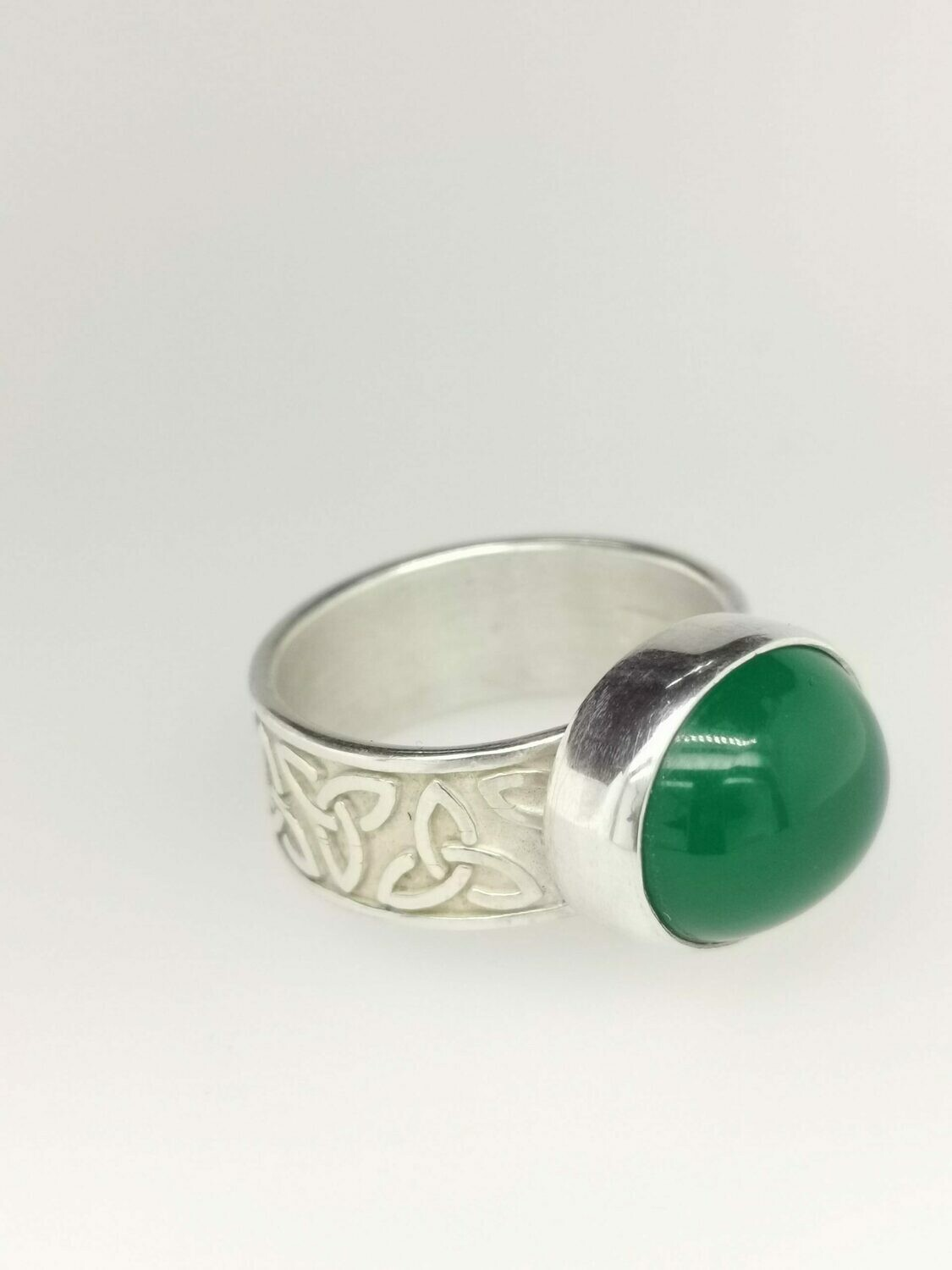 Handmade in Cape Breton Celtic Green Ring
