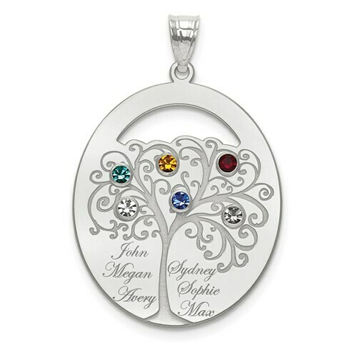 Sterling Silver 6 Stone Family Pendant