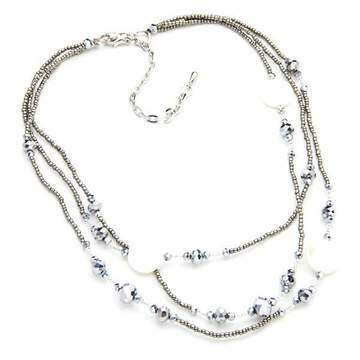 Triple Strand crystal & white Necklace