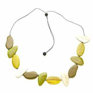 Tinted Wooden Pebble Necklace