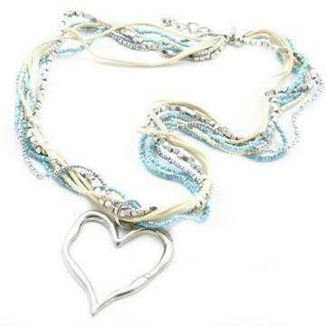 Bead & Suede Necklace with Metal Heart