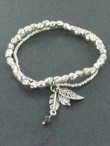 730-122-005 Double Strand Bracelet with Leaf Charm