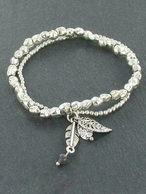 Double Strand Bracelet with Leaf Charm