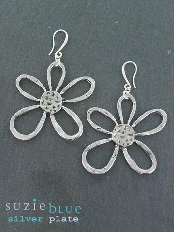 Silver Plated Suzie Blue Earrings