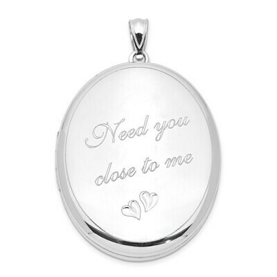 SS Rhodium-Plated Need You Close.. Ash Holder Oval Locket