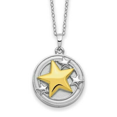 Sterling Silver And Gold-Plated Your Brightest Star Ash Holder 18in. Necklace