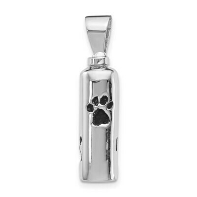 Sterling Silver Rhodium-Plated Enameled Paw Prints Ash Holder Pendant