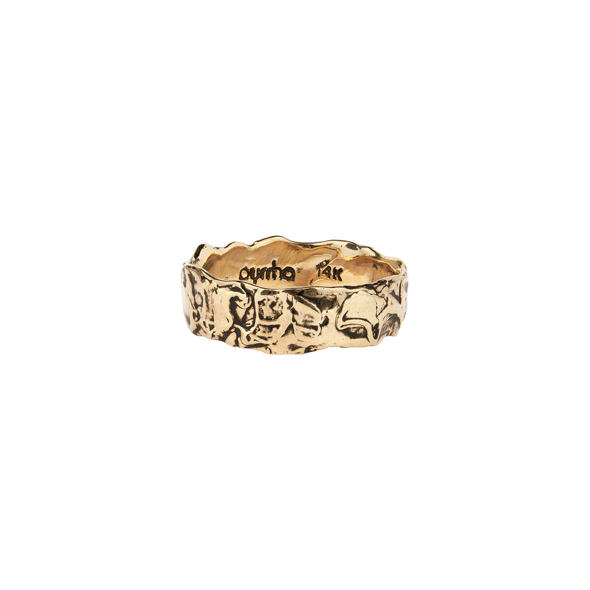 14Kt PYRRAH  Wide Texture Band Ring