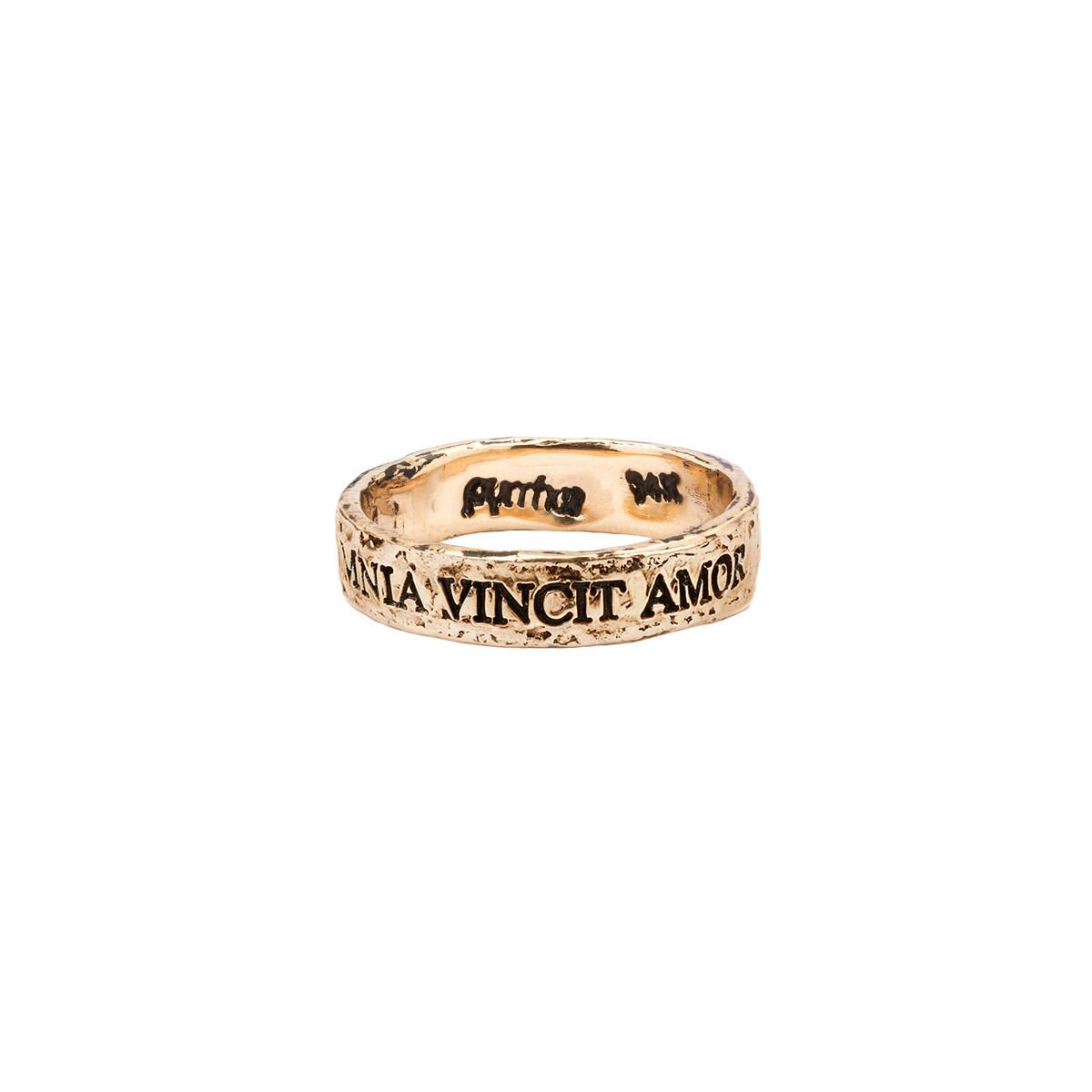 14Kt PYRRAH Latin Motto Band Ring