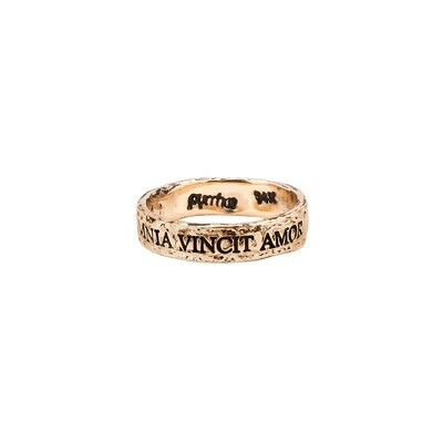 14Kt PYRRAH Latin Motto Band Ring