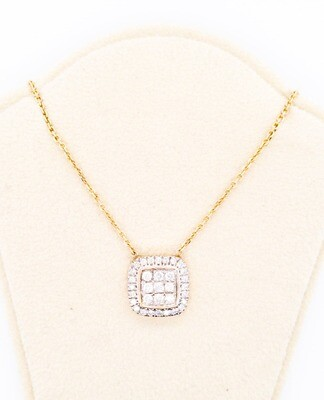 800-100-201203 14kt Diamond square necklace with gold chain