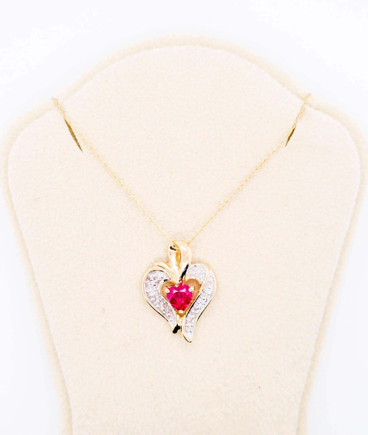800-100-201203 Ruby and Diamond Heart Necklace with fine chain
