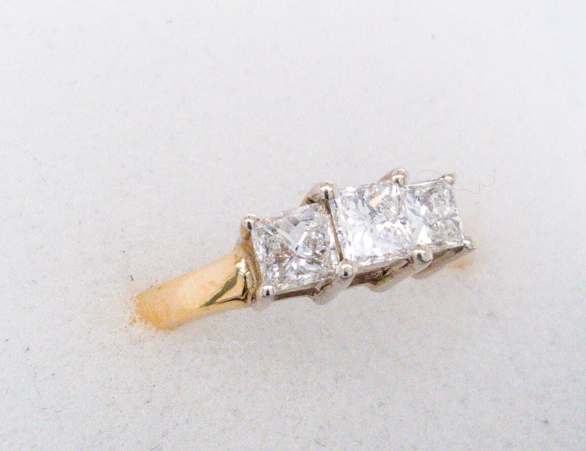 VINTAGE | 14k Princess Cut 1ctw Diamond Trinity Ring