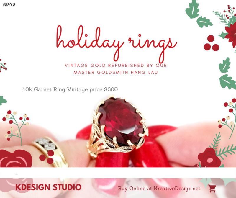880-8 Vintage Large Filigree Garnet Ring R600