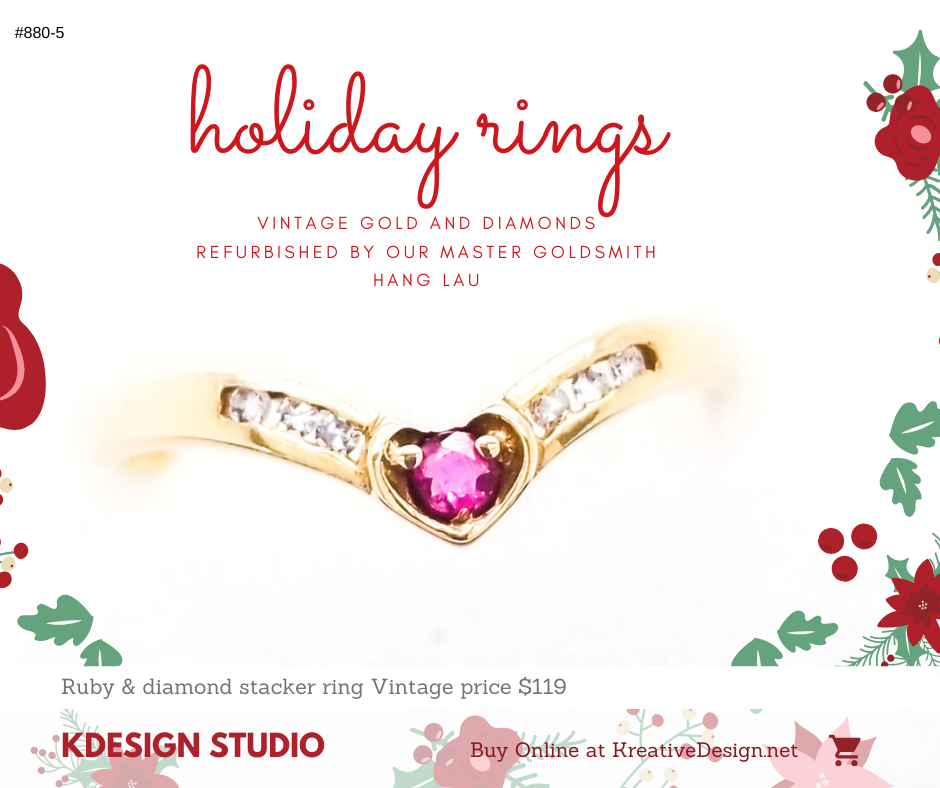 880-5 Vintage Ruby Diamond Slave Stacker style ring