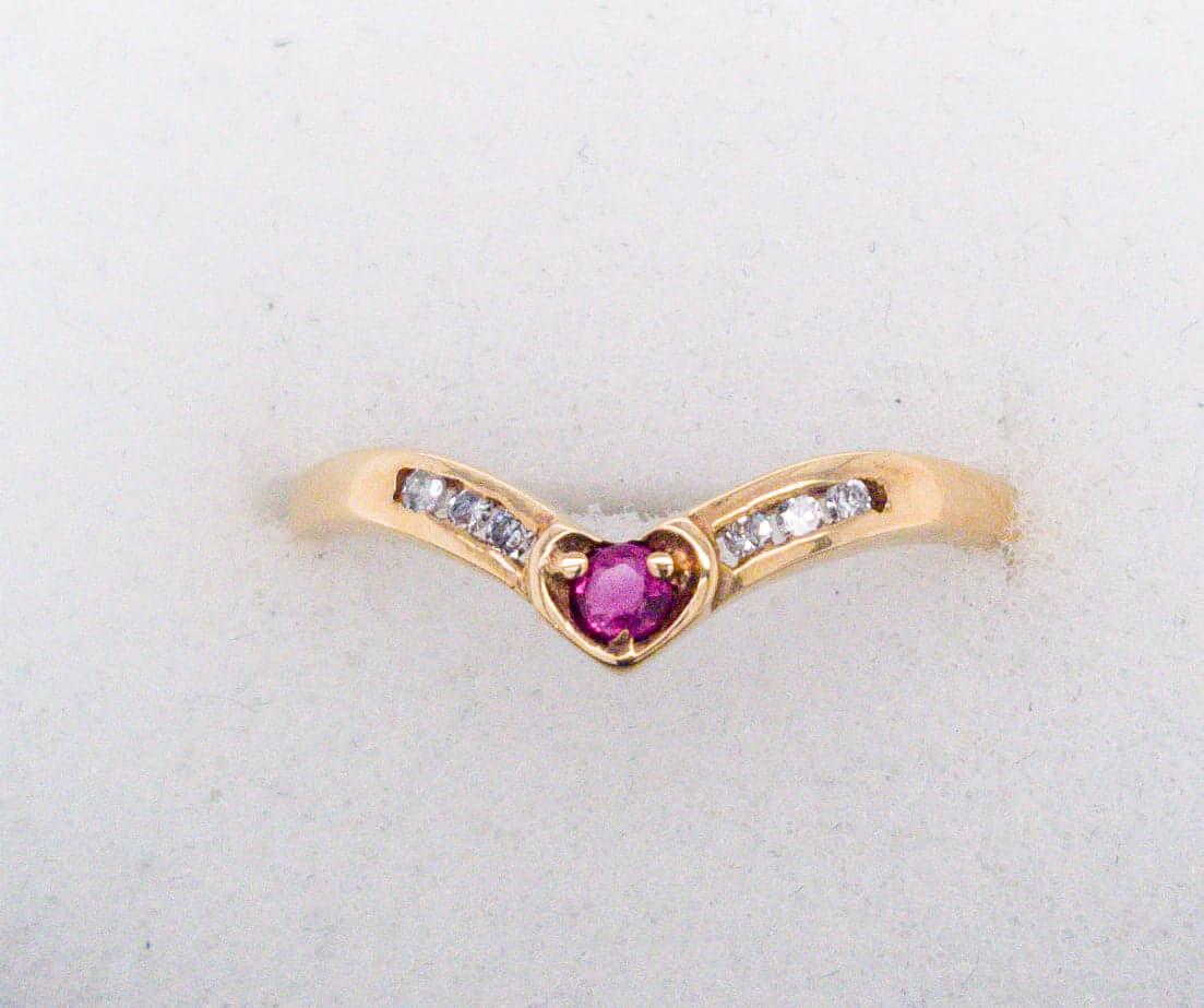 Vintage Ruby Diamond Slave Stacker Ring