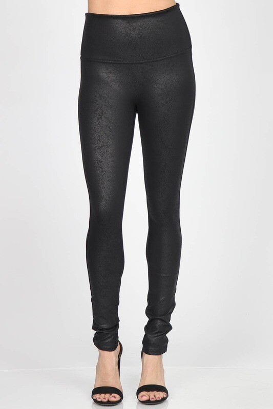 100-LETHERETTE BLACK LEGGINGS