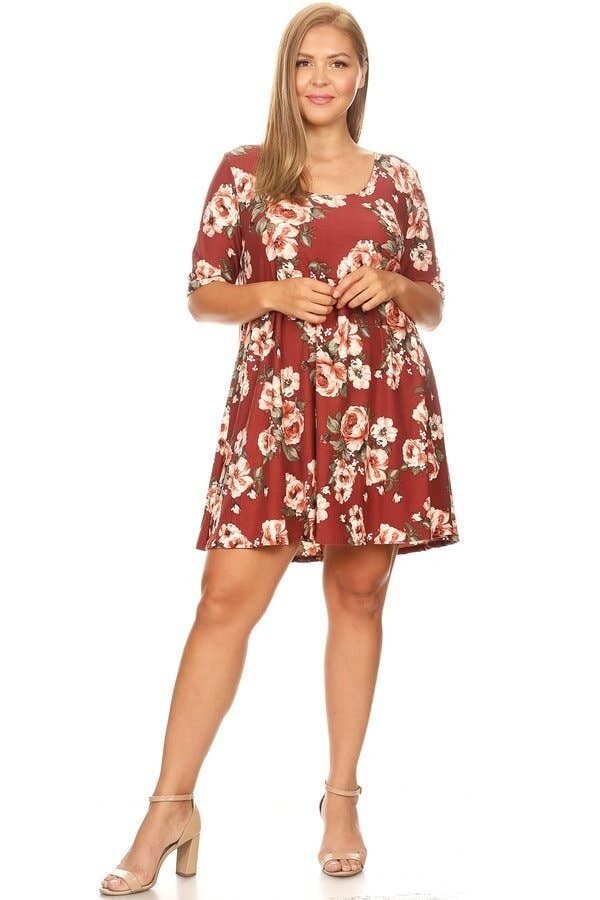 200-8138 Plus Light Floral Brushed Swing Dress R70