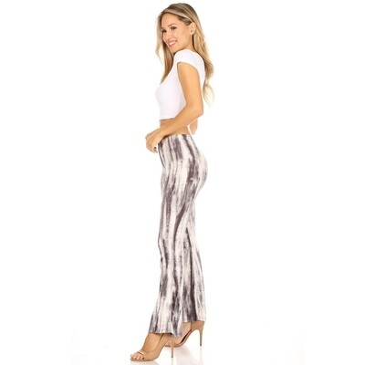 100-1176 Tie Dye Bell Bottom Pant BLACK R60