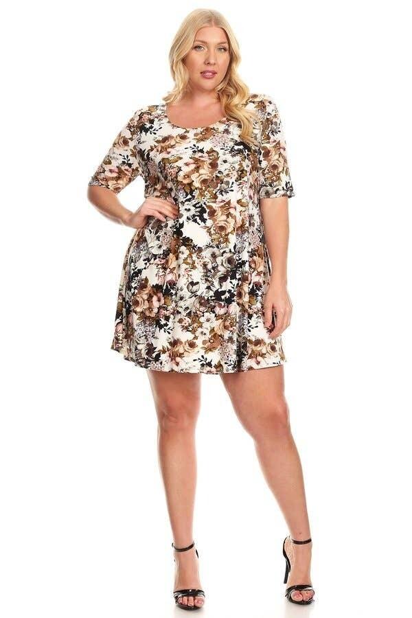 200-8177 Plus Dark Floral Brushed Swing Dress