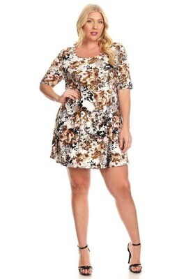 200-8177 Plus Dark Floral Brushed Swing Dress