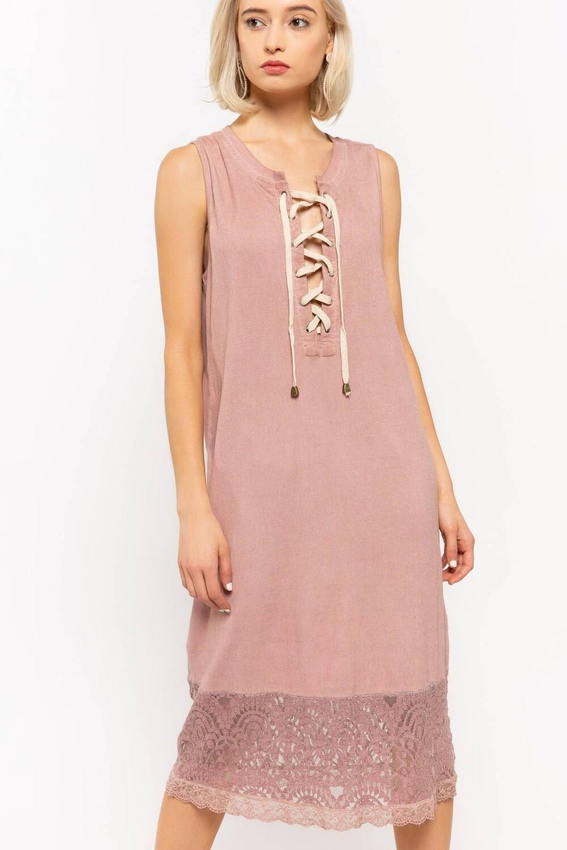 POL | Lace bottom jersey dress  200-JFD50