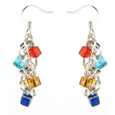 800-GLSY-E4 QuartzCube and Chain Earring R45
