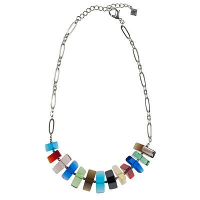 GLSY-C16 800-Stained Glass With Chain Multi Color Necklace R100