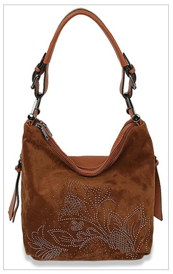 600-3091 Brown Rhinestone Hobo Bag