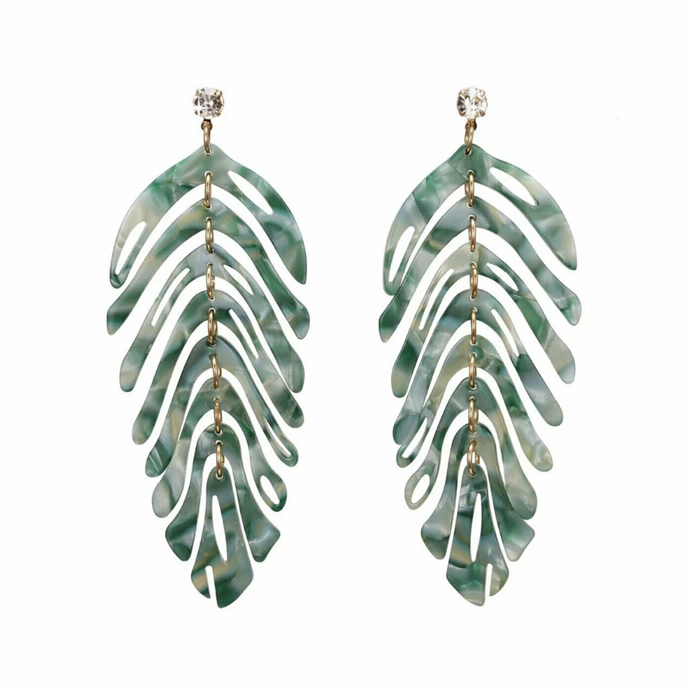 720-JKE511.GR EARRING TROPICAL LEAF GREEN