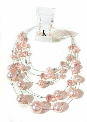 700-JKNE134 NECK EARRING SET MAGNETIC PINK