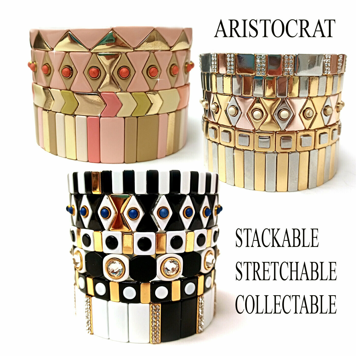 730-JKB373 ARISTOCRAT SQUARE SILVER AND GOLD COLORED BRACELET