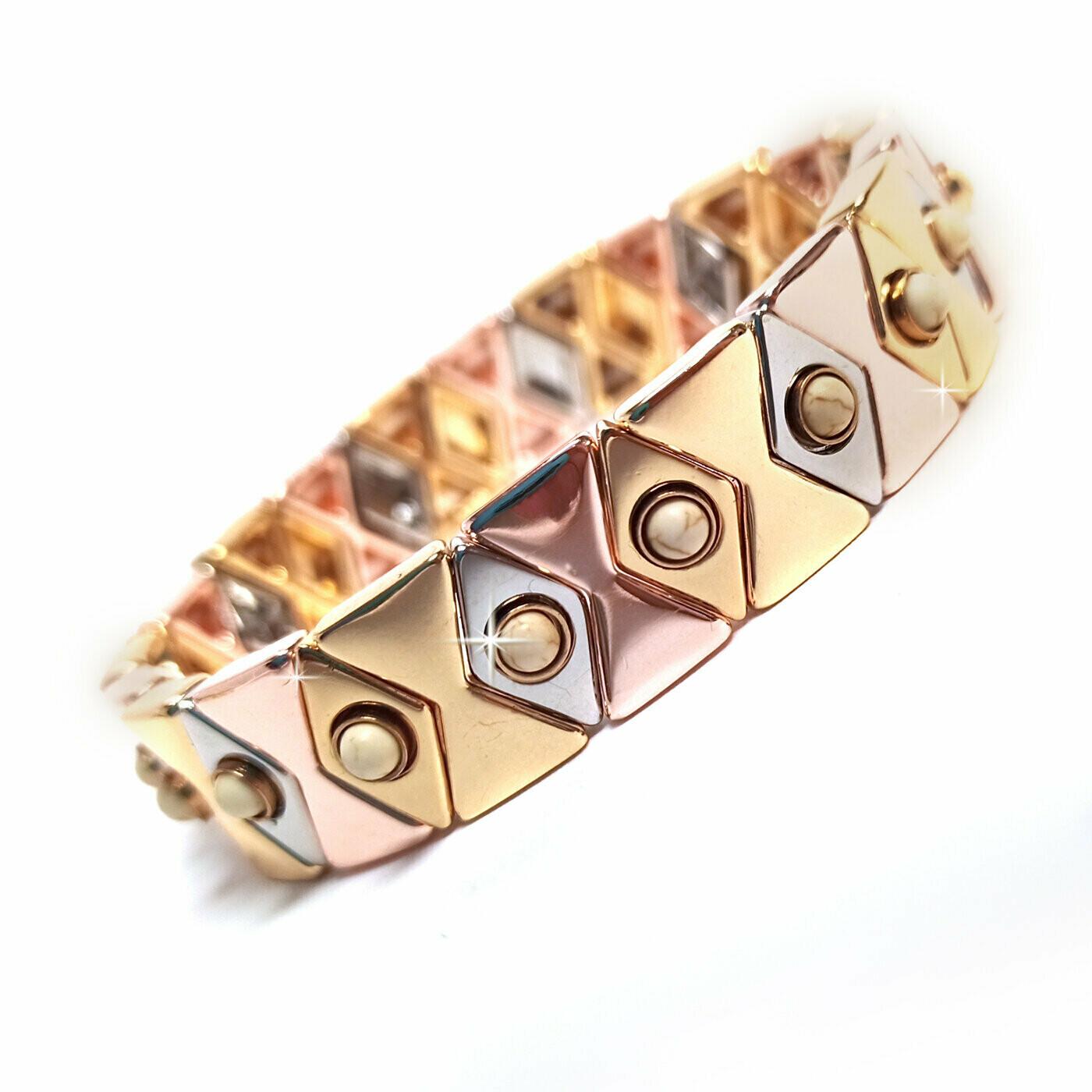 730-JKB368 ARISTOCRAT DIAMOND SHAPED GOLD COLORED STRETCH BRACELET