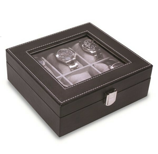 Black Six Watch Box Faux Leather Case