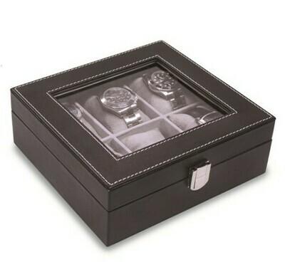 Black Six Watch Box Faux Leather Case