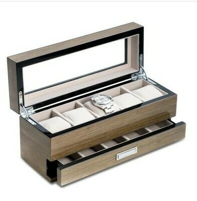 Grey 5 Drawer Watch Box Wood