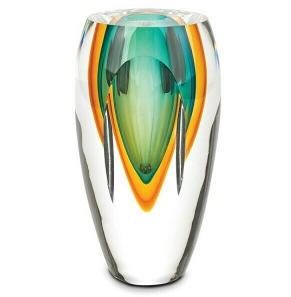 Green Art Glass Vase Badash Astr