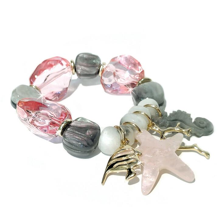 Rock Candy Crystal Pink Grey Bracelet