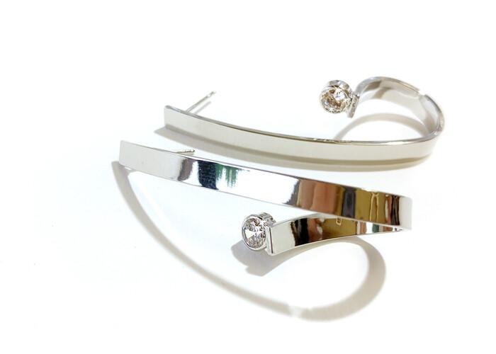 720-JKE393 Earrings Crystal Silver