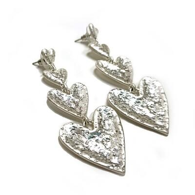 Earrings Heart Drop Silver