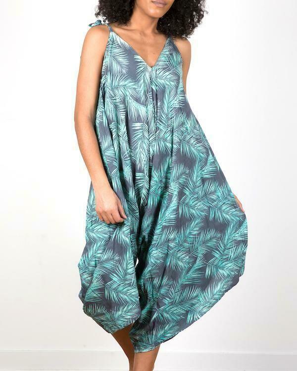 SUZIE BLUE | MINT PALM LEAF Romper 200-122-LS1024G