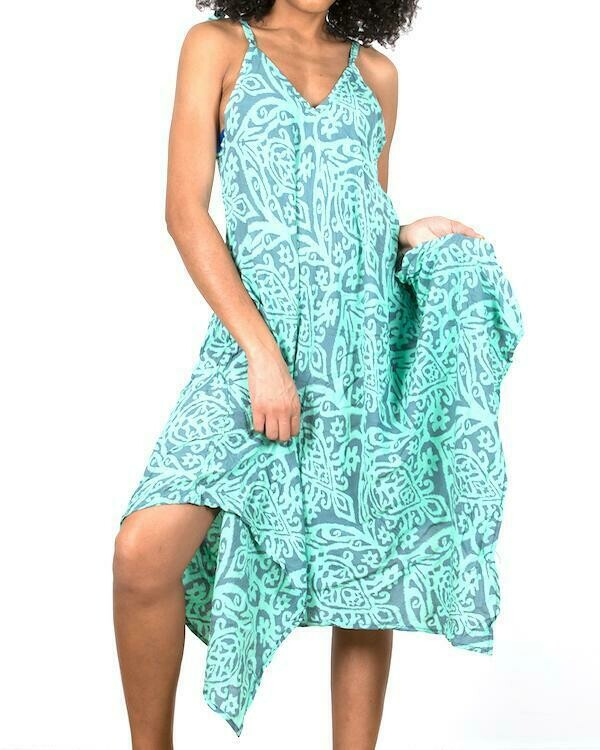 Mint Baltic Print Handkerchief Dress