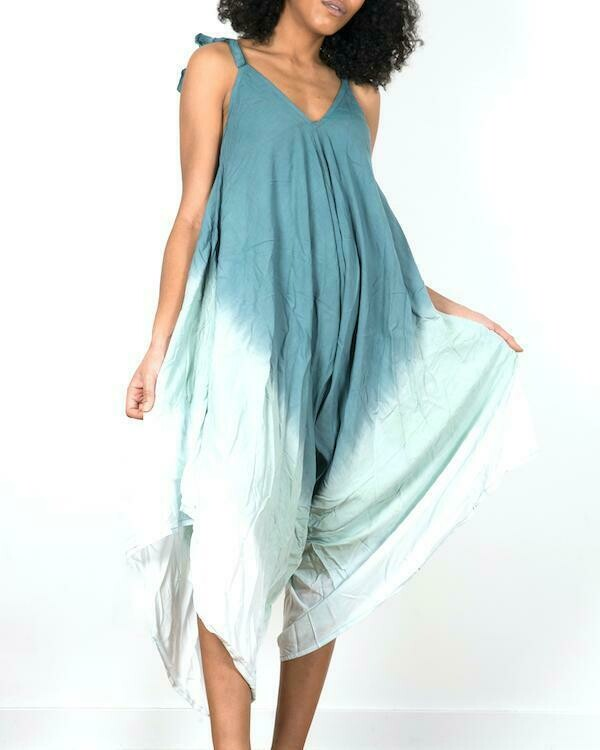 SUZIE BLUE | Green Ombre Romper 200-122-LS1002GN